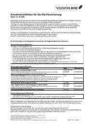Annahmerichtlinien für die Kfz-Versicherung