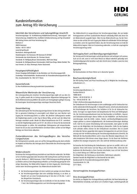 Kundeninformation Zum Antrag Kfz Versicherung