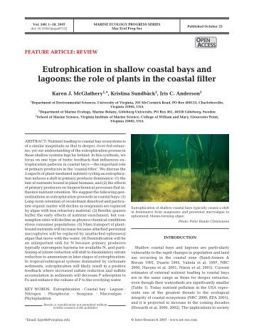 Eutrophication in shallow coastal bays and lagoons - Faculty.virginia ...