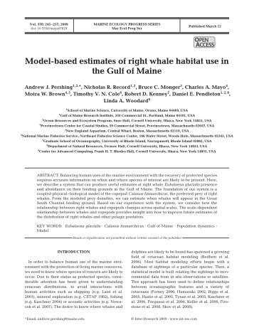 Model-based estimates of right whale habitat use in the Gulf of Maine