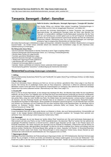 Tansania: Serengeti - Safari - Sansibar - Intakt-Reisen