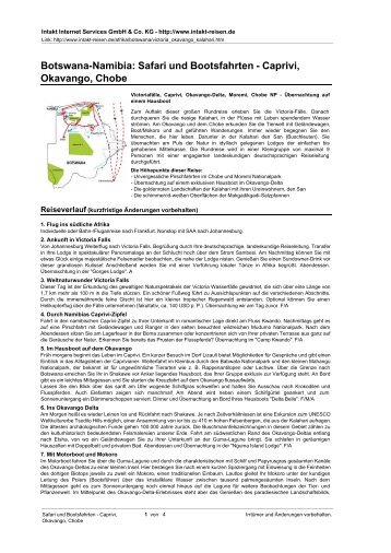 Botswana-Namibia: Safari und Bootsfahrten - Caprivi ... - Intakt-Reisen