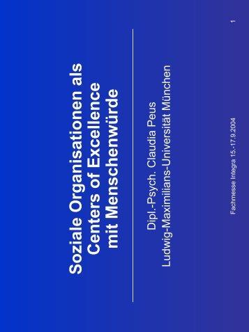 Soziale Organisationen als Centers of Excellence mit ...