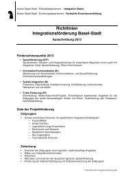 Richtlinien 2013 Integrationsförderung BS - Integration BS/BL
