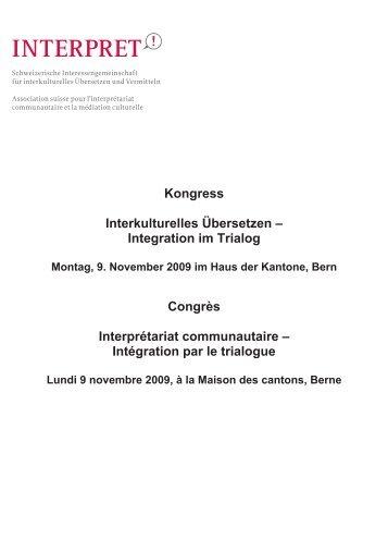 Kongress Interkulturelles Übersetzen ... - Integration BS/BL
