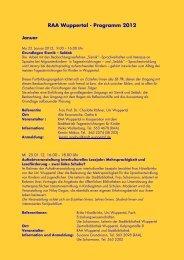 RAA Wuppertal - Programm 2012 - Integration in Wuppertal