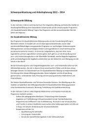 Schwerpunktplanung 2013 - Integration in Wuppertal