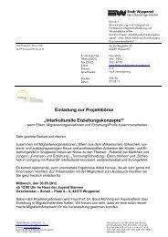 Einladung Projektbörse 30.05.2012 - Integration in Wuppertal