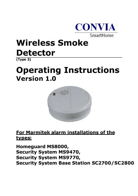 Wireless Smoke Detector Type 3 Intellihome