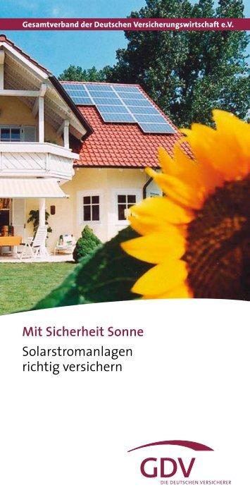 Mit Sicherheit Sonne Solarstromanlagen richtig versichern - Inter