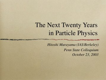 The Next Twenty Years in Particle Physics - Interactions.org