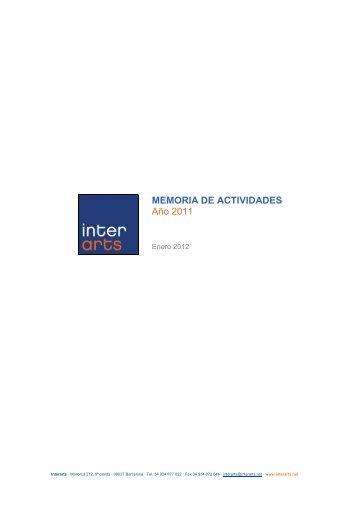MEMORIA DE ACTIVIDADES Año 2011 - Interarts