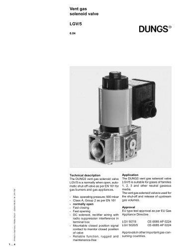 Vent gas solenoid valve LGV/5 - Intercal