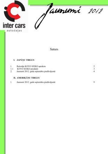 I. Japāņu tirgus - Inter Cars SA