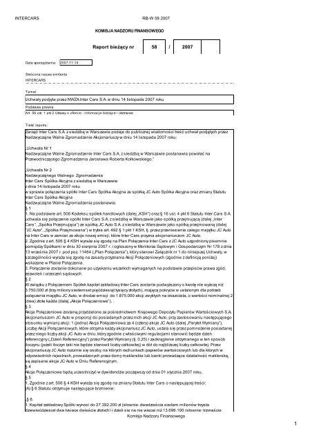 Raport bieżący nr 58/2007 - Inter Cars SA