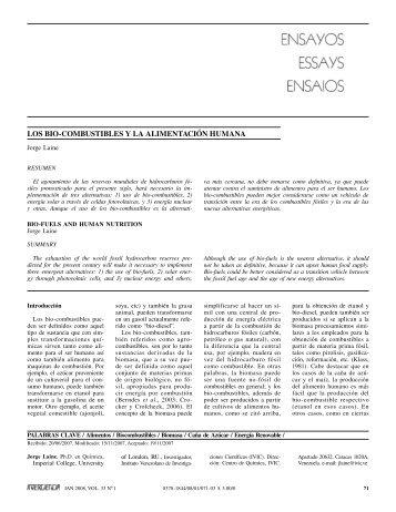 LOS BIO-COMBUSTIBLES Y LA ALIMENTACIÓN HUMANA - SciELO