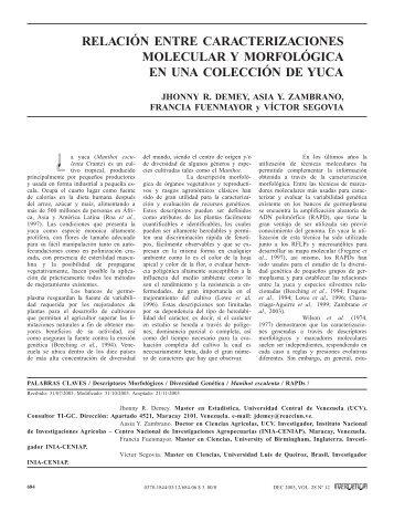 relación entre caracterizaciones molecular y ... - Interciencia