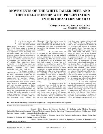 movements of the white-tailed deer and their ... - Interciencia