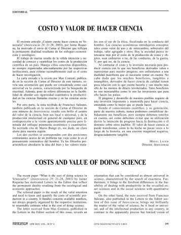 costs and value of doing science costo y valor de ... - Interciencia