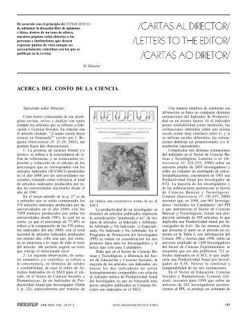ACERCA DEL COSTO DE LA CIENCIA - Interciencia