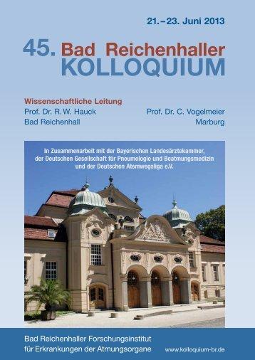 45. Bad Reichenhaller Kolloquium 2013 - Intercongress GmbH