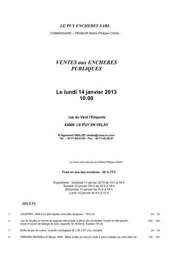 VENTES aux ENCHERES PUBLIQUES Le lundi 14 ... - Interencheres