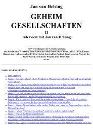 Jan van Helsing: Geheimgesellschaften, Teil 2