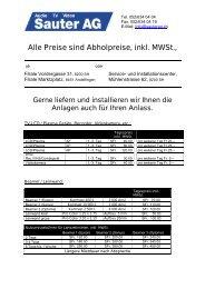 Alle Preise sind Abholpreise, inkl. MWSt.,