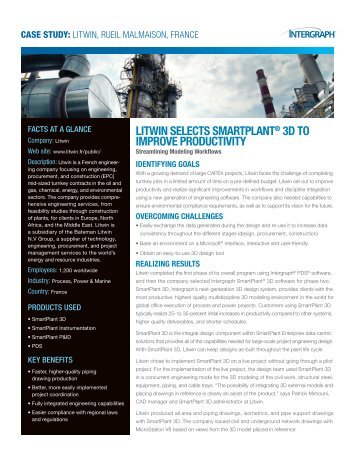 Litwin SeLectS SmartPLant® 3D to imProve ProDuctivity - Intergraph