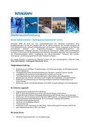 Order Administrator / Auftragssachbearbeiter (m/w) - Intergraph