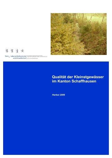 Qualität der Kleinstgewässer im Kanton Schaffhausen