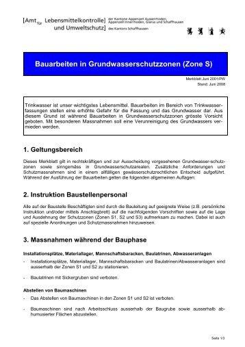 Bauarbeiten in Grundwasserschutzzonen (Zone S)