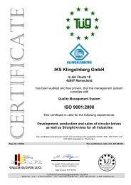 IKS Klingelnberg GmbH ISO 9001:2008 - IKS Messerfabrik ...