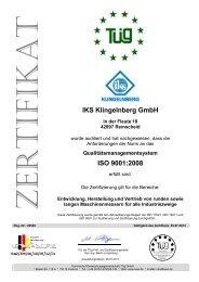 ISO 9001Zertifikat - IKS Messerfabrik Geringswalde GmbH