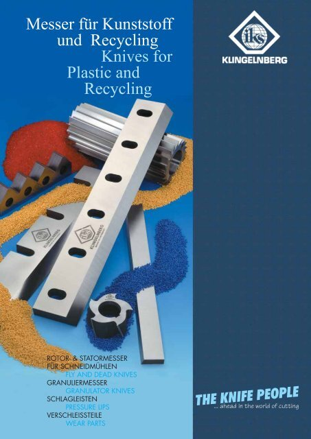 Messer für Kunststoff und Recycling Knives for Plastic and Recycling