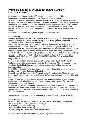 Bewerbungsbogen praktikum e kita frankfurt for Praktikum design frankfurt