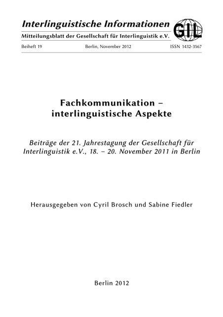 Interlinguistische Informationen Gesellschaft Fa R Interlinguistik