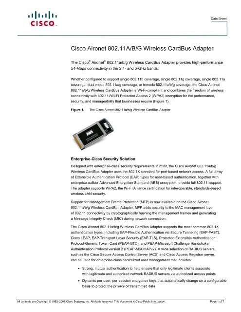 Cisco Aironet 80211A B G Wireless CardBus Adapter