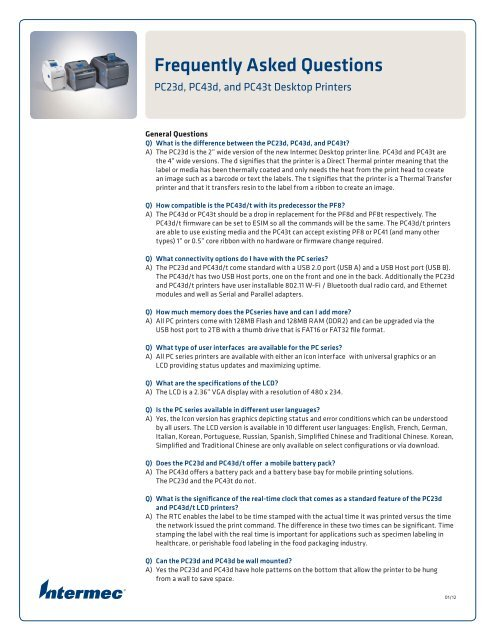 PC Desktop Printers FAQ (PDF) - Intermec