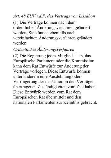 Art. 48 EUV i.d.F. des Vertrags von Lissabon (1) Die Verträge ...