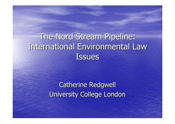 The Nord Stream Pipeline: International Environmental Law Issues