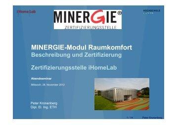 Das MINERGIE-Modul Raumkomfort, Peter Kronenberg - GNI