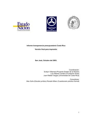 Informe transparencia presupuestaria Costa Rica - International ...