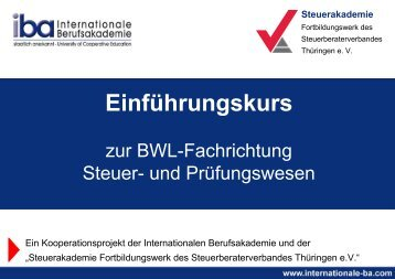 Jetzt bis zum 18.06. anmelden! - Internationale Berufsakademie