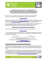Allgemeine Informationen - Internationales - Bergische Universität ...