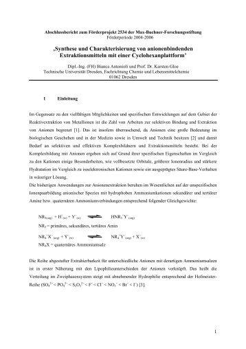 'Synthese und Charakterisierung von anionenbindenden - Dechema