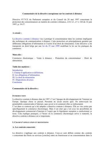 Commentaire de la directive européenne sur les contrats à distance