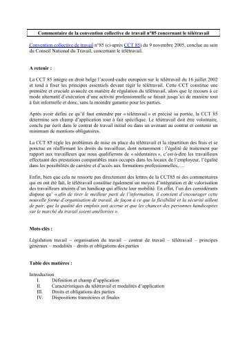 Commentaire de la convention collective de travail n°85 concernant ...