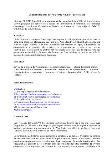 Commentaire de la directive sur le commerce électronique