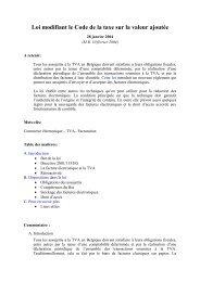 Commentaire de la loi modifiant le Code de la taxe sur la valeur ...